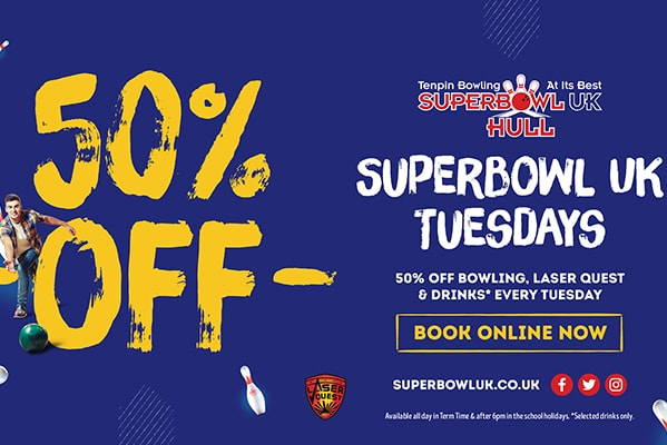 Superbowl UK 50% OFF BOWLING, LASER QUEST & DRINKS EVERY TUESDAY