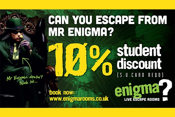 Enigma Live Escape Rooms 10% STUDENT DISCOUNT