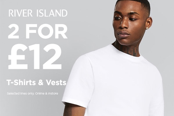 River Island 2 FOR £12 ON TSHIRTS & VESTS