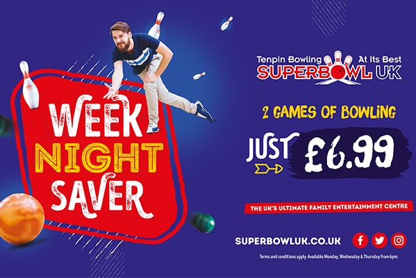 Superbowl UK WEEK NIGHT SAVER | 2 GAMES OF BOWLING £6.99